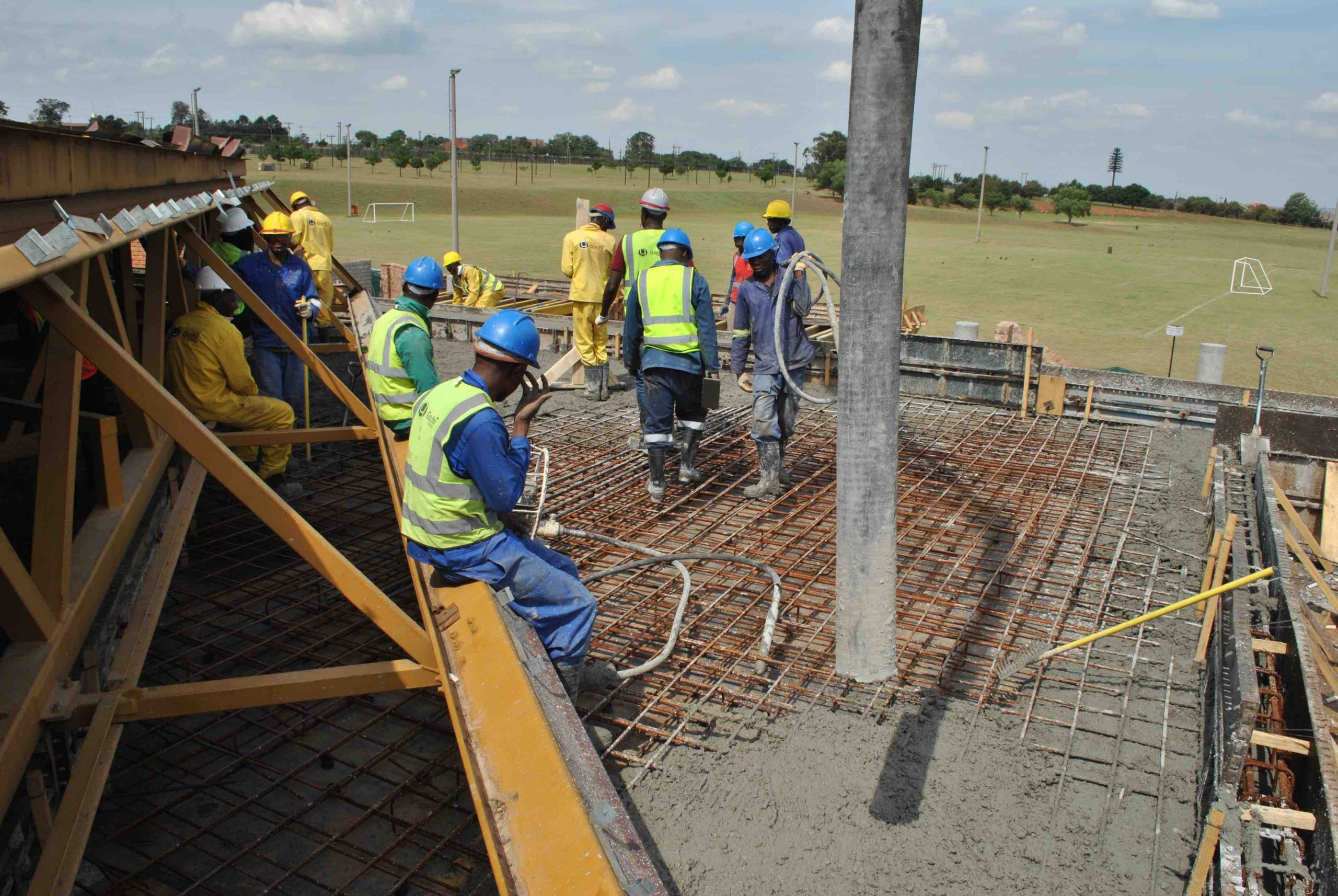 Pouring of concrete at Eskom Academy of Learning Umgeni Kitchen in Midrand, 2017.